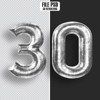 Number 30 steel 3d rendering