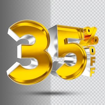 Number 35 3d golden luxury