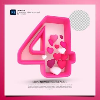 Номер 4 3d визуализация розового цвета со значком любви