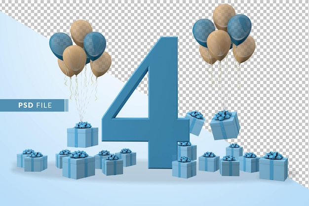Number 4 birthday celebration blue gift box, yellow and blue balloons