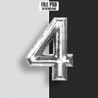 Number 4 steel 3d rendering
