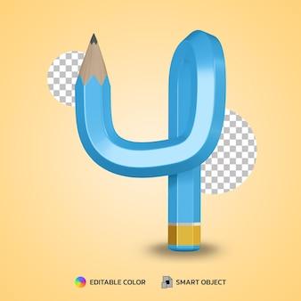 유연한 연필 색상의 숫자 4 텍스트 스타일 격리 된 3d 렌더링