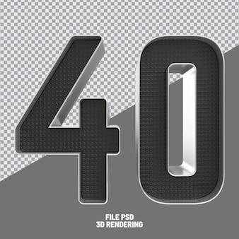 Number 40 black 3d rendering