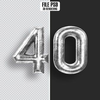 Number 40 steel 3d rendering