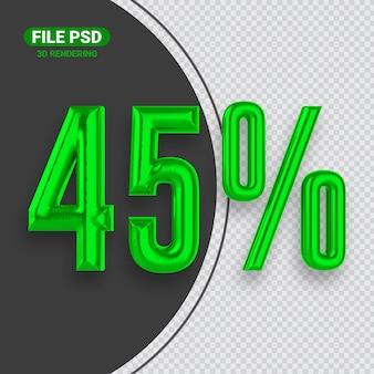 Номер 45 зеленый 3d-рендеринга баннер