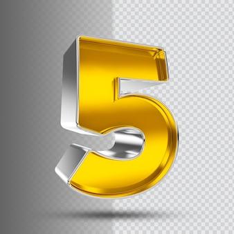 Number 5 3d golden luxury