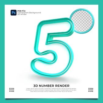 Номер 5 3d render зеленый цвет с элементами