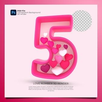 Номер 5 3d визуализация розового цвета со значком любви