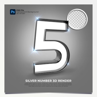 Number 5 3d render silver style with elements