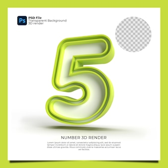 Number 5 3d render with green color