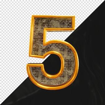 Номер 5 3d-рендеринга с реалистичной металлической текстурой, вид спереди