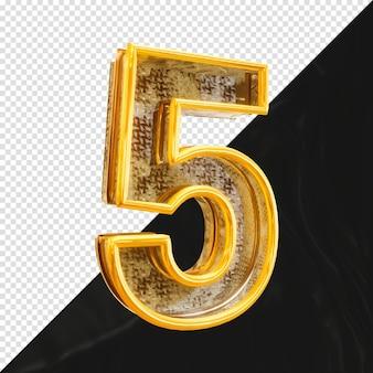 Номер 5 3d-рендеринга с реалистичной металлической текстурой, вид сбоку
