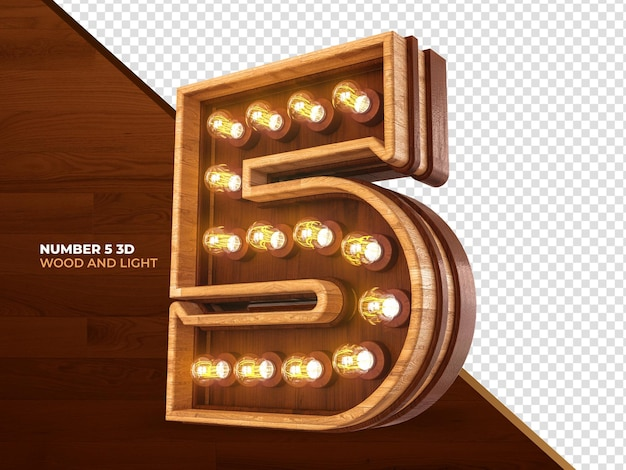Number 5 3d render wood with realistic lights