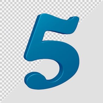 Number 5 in 3d render