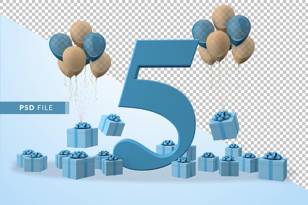 Number 5 birthday celebration blue gift box yellow and blue balloons
