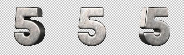 Номер 5 (пять) из коллекции поцарапанных железных номеров. изолированный. 3d-рендеринг