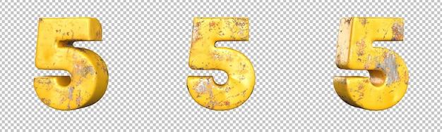 Номер 5 (пять) из набора металлических желтых гранжевых номеров. изолированный. 3d-рендеринг
