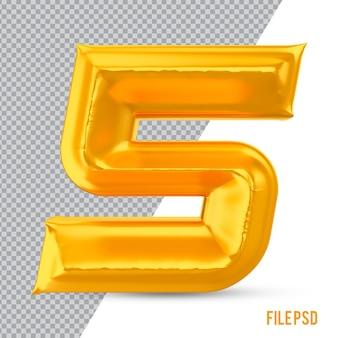 Номер 5 золото 3d рендеринг