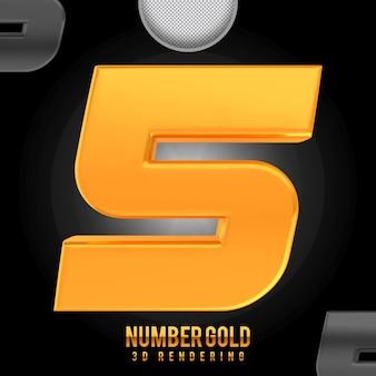 Номер 5 золотой 3d рендеринг