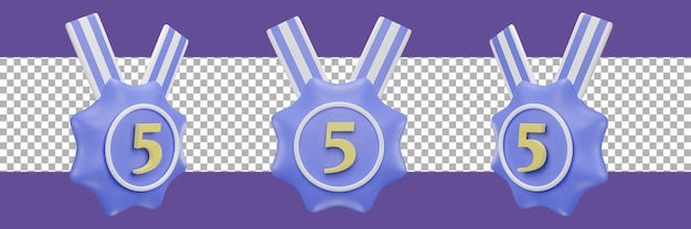 Number 5 medal icon in different views. 3d rendering
