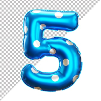 Number 5 polka dot party foil balloon in 3d style