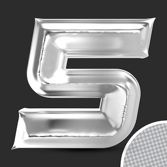 Номер 5 серебряный 3d-рендеринг