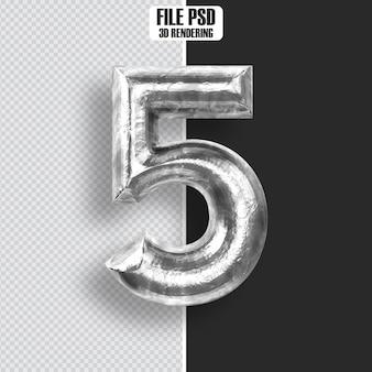 Number  5 steel 3d rendering