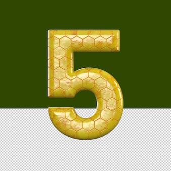 Number 5 text effect honeycomb