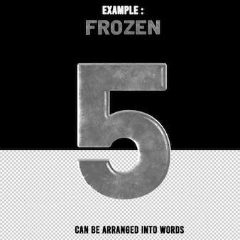 숫자 5 텍스트 효과 얼음