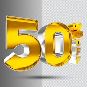 Number 50 3d golden luxury