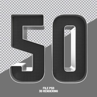 Number 50 black 3d rendering