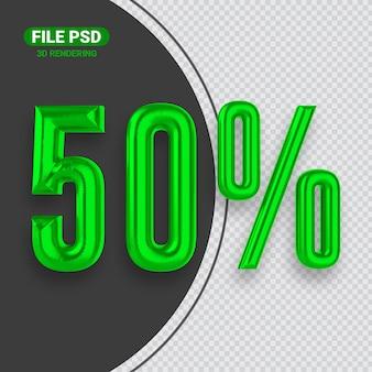 Номер 50 зеленый 3d-рендеринга баннер