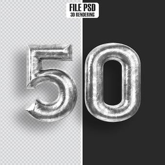 Number 50 steel 3d rendering