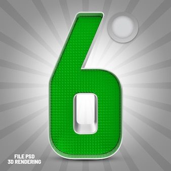 Number 6 green 3d rendering