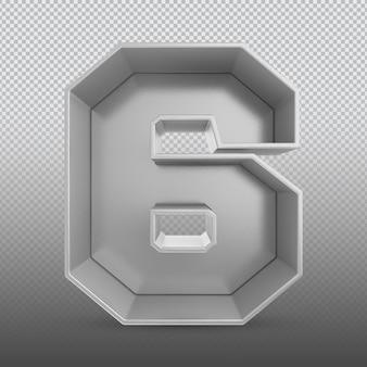 Номер 6 серебряный 3d-рендеринг