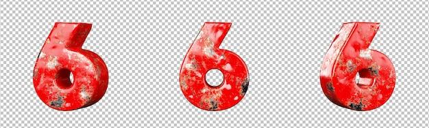 레드 긁힌 금속 숫자 컬렉션 세트의 6번(6). 외딴. 3d 렌더링