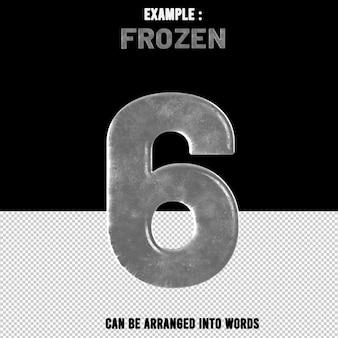 숫자 6 텍스트 효과 얼음