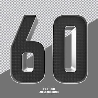 Number 60 black 3d rendering