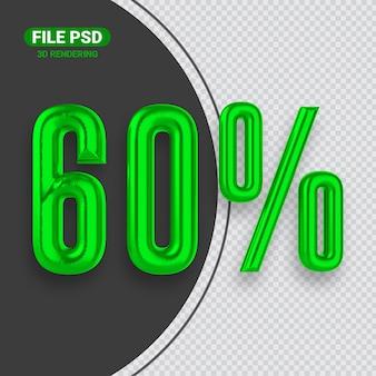 Номер 60 зеленый 3d-рендеринга баннер