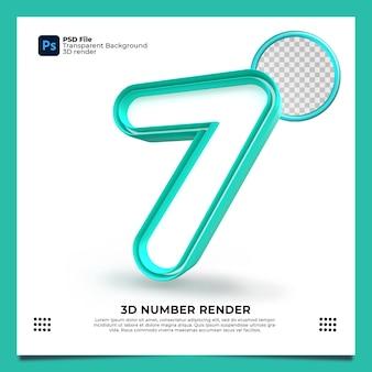 Номер 7 3d render зеленого цвета с элементами