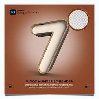 Номер 7 3d визуализация в стиле дерева с элементами