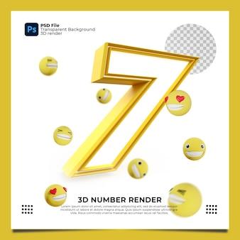 Номер 7 3d render желтого цвета с элементами