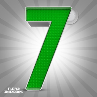 Number 7 green 3d rendering