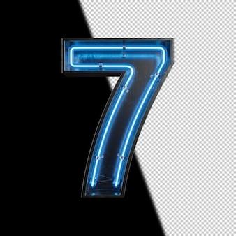 Цифра 7 из неонового света