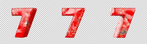 빨간색 긁힌 금속 숫자 컬렉션 집합의 7번(일곱)입니다. 외딴. 3d 렌더링