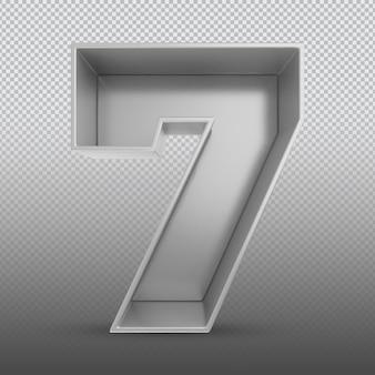 Номер 7 серебряный 3d-рендеринг