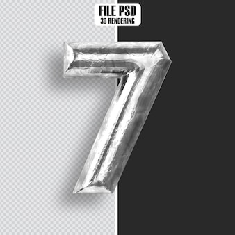 Number 7 steel 3d rendering