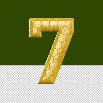 숫자 7 텍스트 효과 벌집