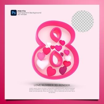 Номер 8 3d визуализация розового цвета со значком любви