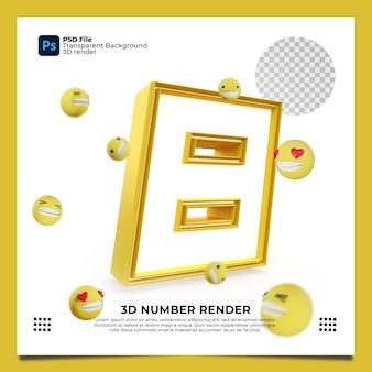 Номер 8 3d render желтого цвета с элементами